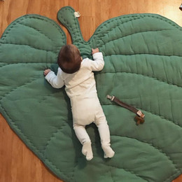 Wholesale Size Play Mats - Ins children fashion play mat green leaf rug for children room baby cotton crawling carpet Size 37 by 33.5inch