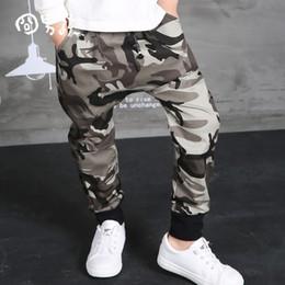 Pantalons de danse garçons en Ligne-WENDYWU 2017 NOUVEAU Automne Vêtements Hip Hop Danse Harem Noir camouflage Loisirs Sport Pantalon enfants Garçons Big Crotch stripe Pants