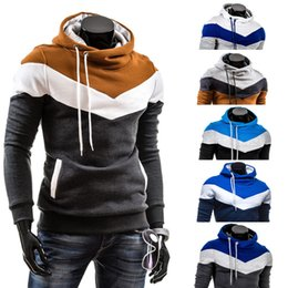 2019 pulôveres de caxemira para homens Homens Listrado Patchwork hoodies Moletom Com Capuz de Lã Pulôveres Streetwear casaco com capuz homens costura casacos de cashmere sweatershirts GGA1066 desconto pulôveres de caxemira para homens