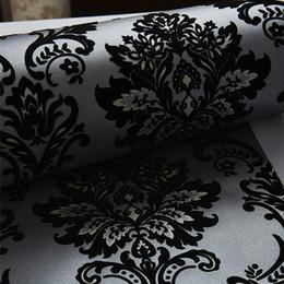 Papel de parede reunido de época on-line-M Wallpaper 10 3D reunindo carvão veludo preto metálico reunido de vintage 53 cm de largura do papel de parede única