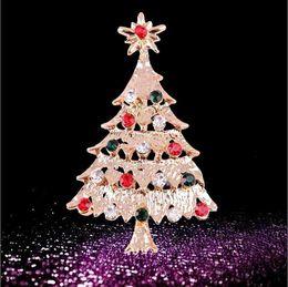 Wholesale Xmas Tree Pin - Wholesale- Xmas Tree Crystal Gold Plated Brooch Pin Christmas Gift Jewelry Charming
