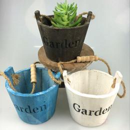2019 giardino in legno Retro vasi rotondi del barilotto Fiori di legno Decorazione domestica dell'ufficio del giardino della piantatrice sconti giardino in legno
