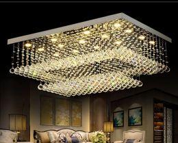 2019 luz de tecto de cristal retangular Modern Contemporânea Remoto LED Lustres de Cristal com Luzes LED para Sala de estar Retangular Flush Mount Luminária de Teto luz de tecto de cristal retangular barato