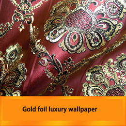 Wholesale Living Room Gold Wallpaper - Wholesale-Red Gold foil luxury wallpaper for living room background wallpaper for wall