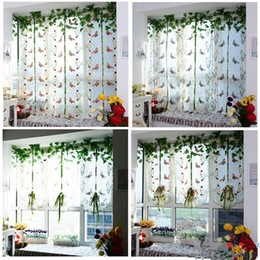 Wholesale Tulle Grommet Curtains - 100X80cm tulle curtains Pastoral Tulle Window Roman Curtain Embroidered Sheer For Kitchen Living Room