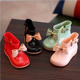 Wholesale Rain Boots Bows - Girls Rain Boots Kids Shoes 2017 Autumn Cute Bow Boots Fashion Anti Slip Water Shoes HX-369