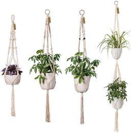 Personalizar ganchos on-line-Personalizar Corda de Cânhamo Natural Pendurado Cesta de Flores Vaso de Plantas Cabide de Linho Corda Saco de Pote Net Titular