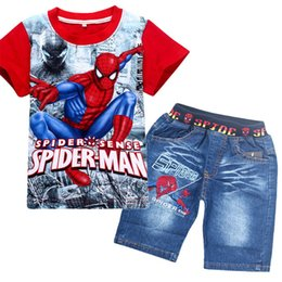 Wholesale set boys superman - 2018 Retail spiderman kids clothing sets fashion cartoon children summer shirt jeans shorts set toddler boys superman clothing