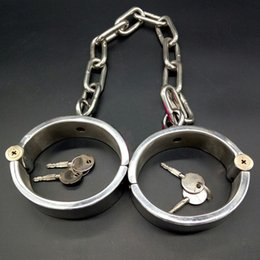 Wholesale Metal Bondage Shackles - New 3cm High Metal Stainless Steel Fetter Anklet Cuffs Shackles With Chain Restraint Bondage Lock Adult BDSM Sex Toy For Male Female