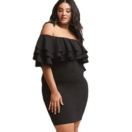 Wholesale Best Club Dresses - Best Sales Extra Big Size Quality Lanon Lady Dress Batwing Sleeve Women Slash Neck Dresses Fashion Casual Black Red Dress XXXL