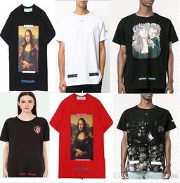 Wholesale T Shirts Striped Red White - New Hot Fashion Sale Brand Clothing Men T-shirt Print Cotton Shirt men Women T-shirt 19 styles S-XL