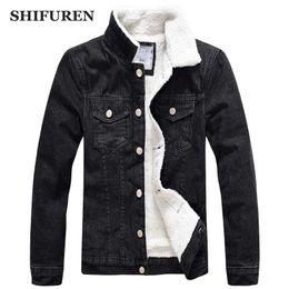 Lunga giacca di denim nera online-Giacca da uomo SHIFUREN Jeans 2018 Inverno caldo spessore giacca di jeans con felpa a maniche lunghe tuta sportiva maschile nero vestiti da cowboy