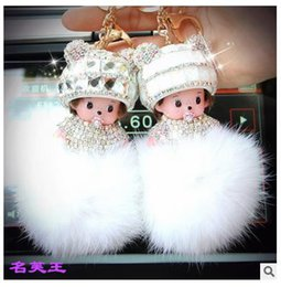 Argentina KIKI Monchichi conejo real de piel de conejo pom pom llavero de cristal de dibujos animados muñecas pompón llavero mujer bolso coche encanto colgante Suministro