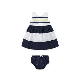 Chapéus de menina bonita on-line-2018Vestido de colete bonito e bonito do bebê de verão vestido, novo estilo Naval vestido sem mangas de algodão puro, incluem um chapéu e cuecas