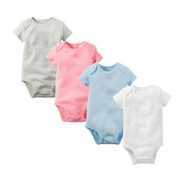 Wholesale Babies Onesies - Baby Rompers Suit Summer Infant Triangle Romper Onesies 100% cotton Short sleeved babies clothes boy girl pure white full sizes in stock