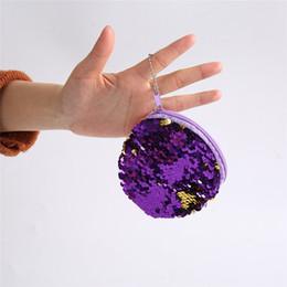 круглый карман на молнии Скидка Portable Mini Round Sequins Coin Purse Bag For Women Plush Zipper Coin Pouch Kids Small Wallets Earphone Storage Key Wallet