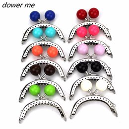 Wholesale Mix Bag Beads - 10pcs lot 8CM Metal Purse frame Silver arc-shaped Large candy ball bead head Kiss Clasp handle for bag,Mixed color wholesale