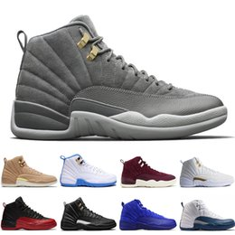 Wholesale green lifestyle - 2018 12 12s men basketball shoes Sunrise Bordeaux Dark Grey Wolf Flu Game The Master Taxi Playoffs French Blue Barons Gym Red Sport sneakers