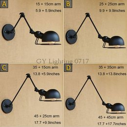 Parete del braccio oscillante online-AC 110v 220v Nero 20 + 20 cm o 30 + 30 cm o 40 + 40 cm o 50 + 50 cm doppi bracci oscillanti applique da parete ciotola mezza sfera globo metallo paralume applique lampada