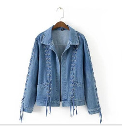 Джинсовая куртка онлайн-Весна новый женский глаз шнурок дизайн джинсовая куртка пальто куртки