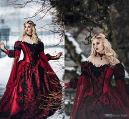 Wholesale Sexy Black Sleep Dress - Black and Red Wedding Dresses Sleeping Beauty Lace Applique Sexy Off Shoulder with Long Sleeves Masquerade Bridal Ball Gown Custom Made 2018