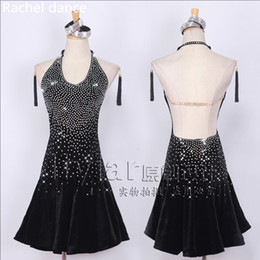 Wholesale latin dance outfits - Lady Sparkling Diamond Backless Performance Competition Costume Uniforms for Women Latin Rumba Salsa Tango Chacha Samba Dancing Outfits