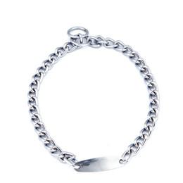 Cromo de hierro online-Collar de collares de mascota de perro de entrenamiento de cadena de metal cromado P Chock New Chrome nuevo
