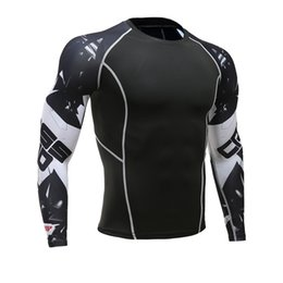 Wholesale Wolves Jersey - Compression t shirts men 3d Teen Wolf Jerseys Long Sleeve Shirt Fitness Lycra Quick drying Crossfit tights T-Shirts Hot Fashion