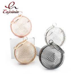 metallic clutch handbags Promo Codes - Fashion Metallic Hollow Small Ball Shoulder Bags Chain Round Messenger Handbags Ladies Day Clutches Evening Bag Party Purse