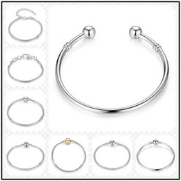 Wholesale dropshipping bracelet - Dropshipping 10 Designs 925 Sterling Silver 3mm Chains for European Beads 20cm Bangle Bracelets DIY Jewelry Link