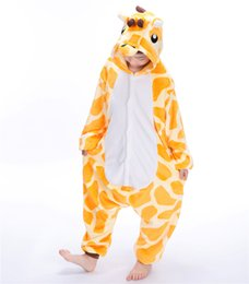 Wholesale 12 Days Christmas Costumes - Giraffe Blanket Overalls Jumpsuit Kids Children Animal Cosplay Costume Onesie Pajamas Baby Clothing Party Cosplay MX-034