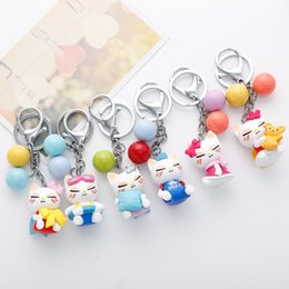 Wholesale Cute Cross Ring - Fashion Cute Kawaii Korean KT Cat Key Chain Ring Anime Keychain Novelty Creative Trinket Charm Women Girl Kids 12pcs Set D530L