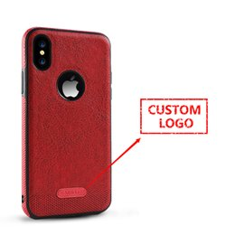 Wholesale Apple Add - 5 pcs Business Leather Cover Full Cover Soft Case for iPhone X Logo Adding for iPhone 8 Plus 7G Company Name Printing Shell