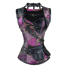 Patrón de corsé sexy online-Elegante patrón de calavera Steampunk Corset Negro Sexy Gothic Punk Faux Leather acero deshuesado Bustiers más tamaño Espartilho 6XL