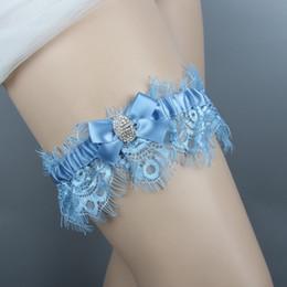 imagens de sexy Desconto Nupcial Garter Sexy Real Imagem Beads Céu Azul para Noiva Laço Casamento Ligas Feitas À Mão Barato Prom Em Estoque Tamanho Livre 14 ~ 24 Polegadas