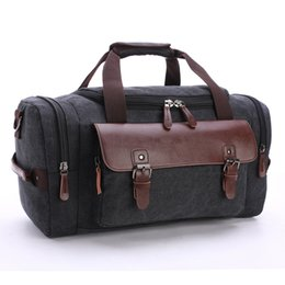 Wholesale Large Gray Leather Handbag - new high quality Casual fashion male canvas travel bags new Genuine leather Duffle bag Pure color large capacity men handbag