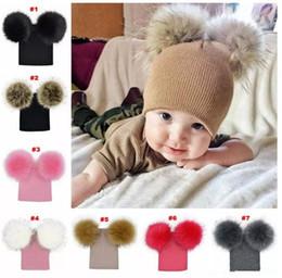 Wholesale kids plush beanie cap - Kids Warm Crochet Hats Toddler Knitted Beanie with 2 Plush Fur Balls Children Pom Poms Cap 7colors B11