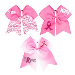 Accessoires de cancer du sein en Ligne-Newset Cancer Du Sein Bravo Cheer Bow Avec Bande Élastique Pour Cheerleader Bébé Bandeaux Fille Cheveux Accessoires