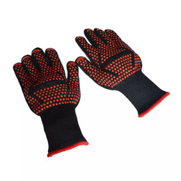 Wholesale Bbq Cleaner - HOT Oven Mitts Gloves BBQ Grilling Cooking Gloves - 932F Extreme Heat Resistant Gloves Long For Extra Forearm Protection