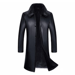 1608 Nueva Moda Hombres de Invierno Ropa de Abrigo de Cuero Genuino con Piel de Cordero linner Hombre Trench Largo desde fabricantes