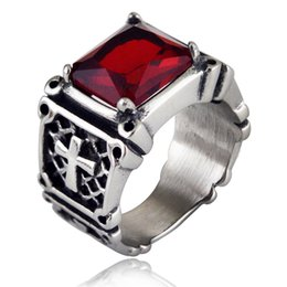 Wholesale Ancient African Jewelry - High quality Stainless Steel Jewelry Ancient Silver Cross Ring Fashion Mens Ruby Hip hop Rings for Men Valentine's Gift