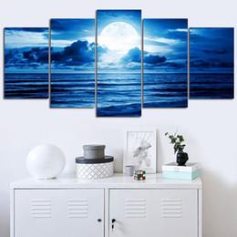 peinture de diamant bleu Promotion gros Blue Clouds Moon Paysage Diamant Peinture De Broderie Plein Foret Rond Daimond Image Point De Croix Décor Diamond Peinture