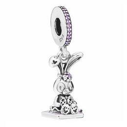 enamel pendants silver 925 UK - New 925 Sterling Silver Bead Charm Purple Enamel Rabbit Stellalou With Crystal Pendant Beads Fit Bracelet Diy Jewelry
