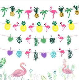 Decorazioni di cocco online-Decorazione del partito fenicotteri ananas foglia di cocco ghirlanda baby shower hawaiano luau rifornimenti del partito stringa bandiere bunting banner decor kka6077