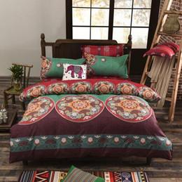 Wholesale blue floral duvet cover - Bohemian Style Bedding Set Floral Printed Bed Linens Twin Queen King Size 4pcs Duvet Cover Flat Sheet Pillow Case Hot Sale