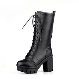 7d64b6df0e88ef Grande taille 35-43 haute qualité noir marron dentelle à lacets plateforme  bottes en gros mode carré talon mi-mollet chaussures femme b118