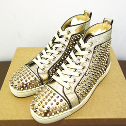 Wholesale Genuine Python Leather - new Luxuious men red bottom sneakers python leather spikes gold sliver winter high top flat lou men walking shoes xz140