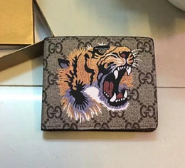 Wholesale womens purse wallets branded - 2018 Fashion Men Womens PU Genuine Leather Purses famous brand Short wallets Tiger pattern purse wallet With Box Bags