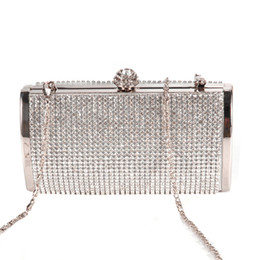 Wholesale hard shell clutch - Top Sale BISM Handbag Pouch Wallet Rigid Metallic Deco Rhinestones for Woman Girl Silvery