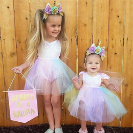 Wholesale Baby Girl Romper Tutu Pink - INS Unicorn Sequined Baby Girl Princess Tutu Dress Rainbow Color Lace Boutique Romper Toddler Clothing Party Wedding Flower Girls Dresses
